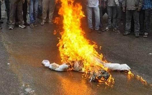 चिखली में फूंका केंद्रीय मंत्री का पुतला
