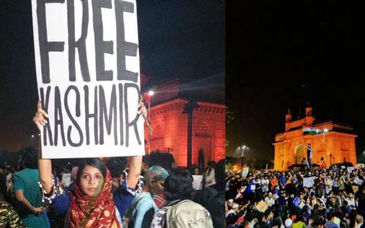 """जेएनयू हिंसा: गेटवे ऑफ इंडिया पर """"FREE KASHMIR"""" के पोस्टर पर राजनीतिक घमासान"""