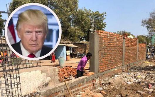 अहमदाबाद: ट्रम्प से गरीबी छुपाने के लिए बना रहे दिवार