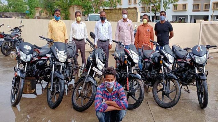 बाईक चोर गिरफ्तार, 6 मोटरसाइकिल जब्त