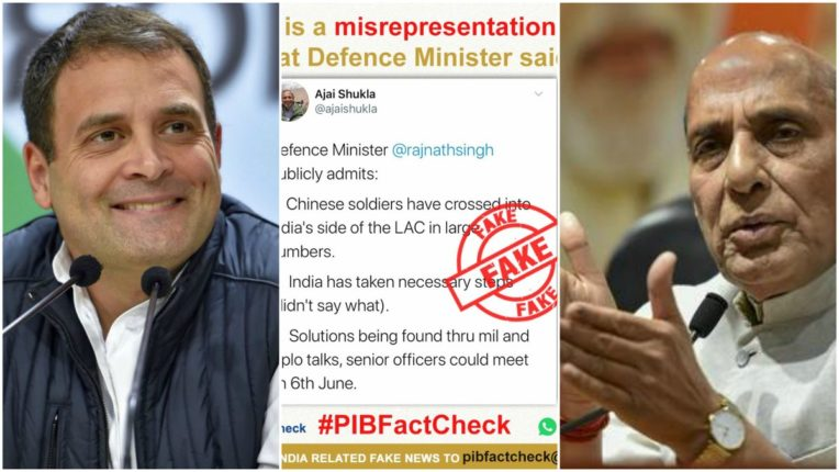 Rahul raised questions on Chinese soldiers from Rajnath, PIB Fact Check said the news is false
