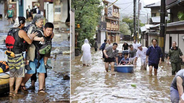 भारी बारिश, बाढ़ से मध्य जापान के पर्यटक स्थलों पर सैंकड़ों लोग फंसे