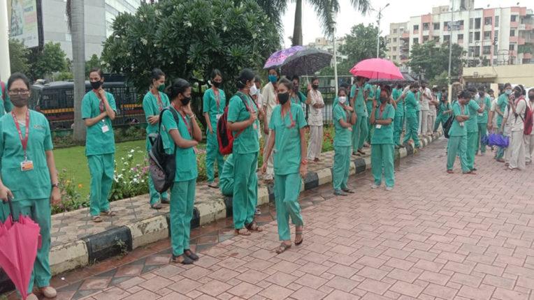 बिर्ला हॉस्पिटल के नर्सिंग स्टाफ फिर स्ट्राइक पर