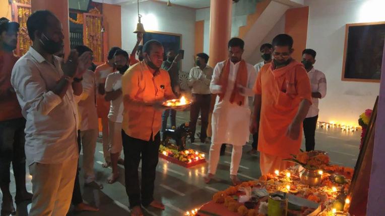 श्रीराम जन्मभूमि मंदिर शिलान्यास पर भिवंडी में दीपोत्सव