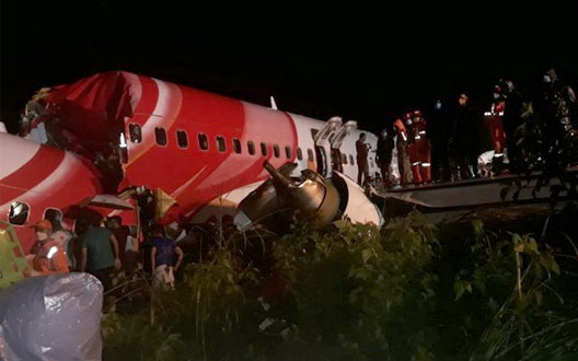 18 killed, including both pilots, aircraft slipped on runway in Kozhikode, Kerala