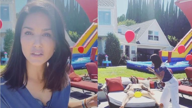 viral-social-sunny-leone-prank-on-husband-daniel-weber-with-water-balloon