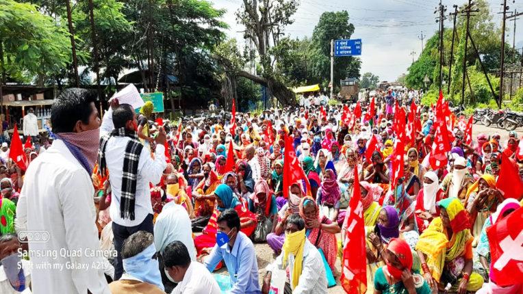किसान सभा ने किया रास्ता रोको आंदोलन, यातायात ठप