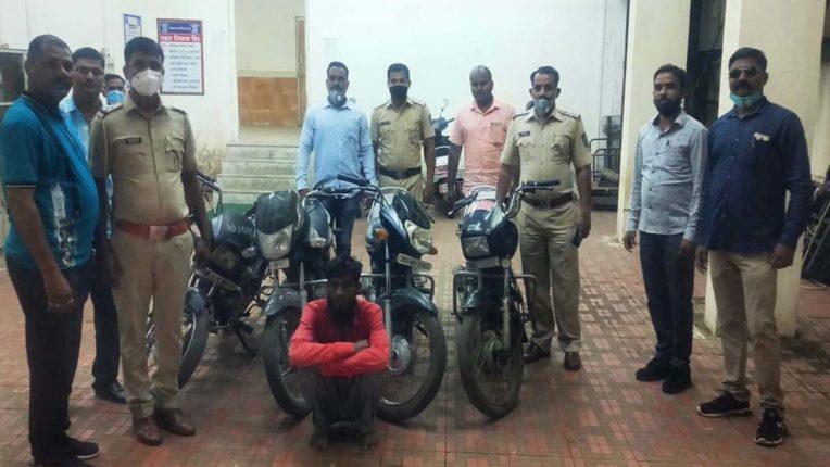 चोरी की 4 बाइक के साथ शातिर बदमाश गिरफ्तार