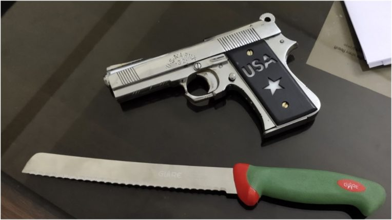 Chikhali police seized country pistol and knife