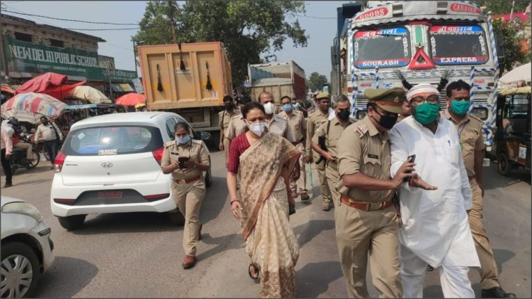 Congress state president Ajay Lallu and MLA leader Aradhana Mishra arrested