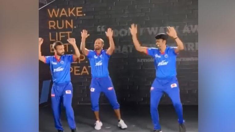 IPL-2020 shikhar-dhawan-teaches-few-punjabi-steps-to-ravichandran-ashwin-ajinkya-rahane-Delhi Capitals