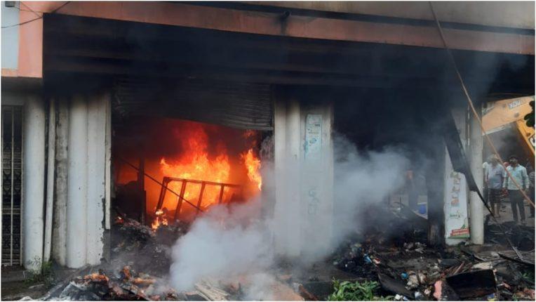 लक्ष्मी किराना दुकान जलकर खाक