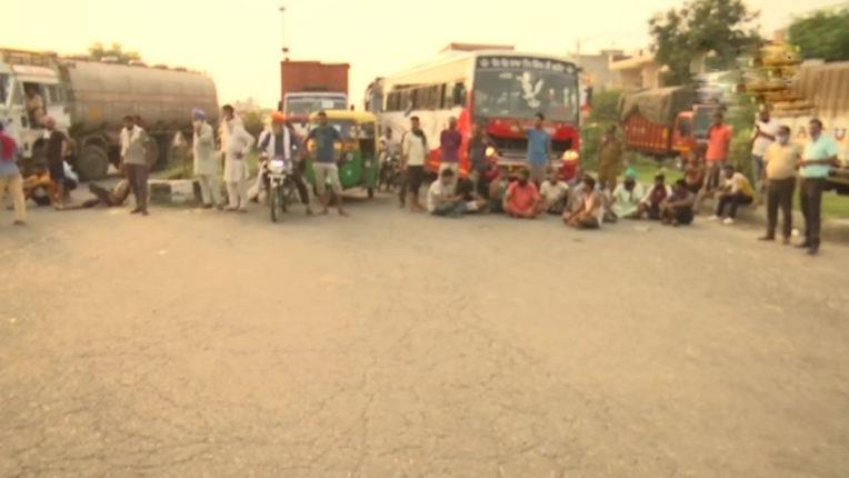 कृषि विधेयक के विरोध में किसानों का प्रदर्शन, सड़के की जाम