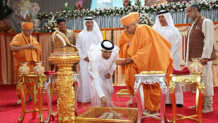 The UAE Foreign Minister reviewed the progress of the construction of the first Hindu temple in Abu Dhabi
