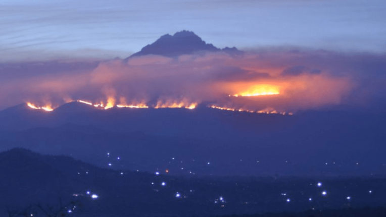 Fire on Africa's highest mountain