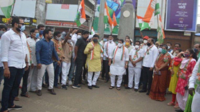 Congress Protest in Chandrapur 02
