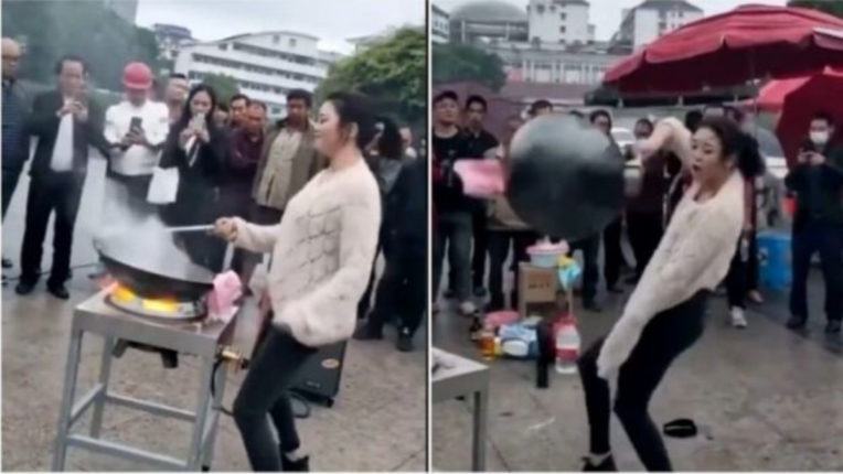 This girl makes street food while dancing on 'Gangnam Style'