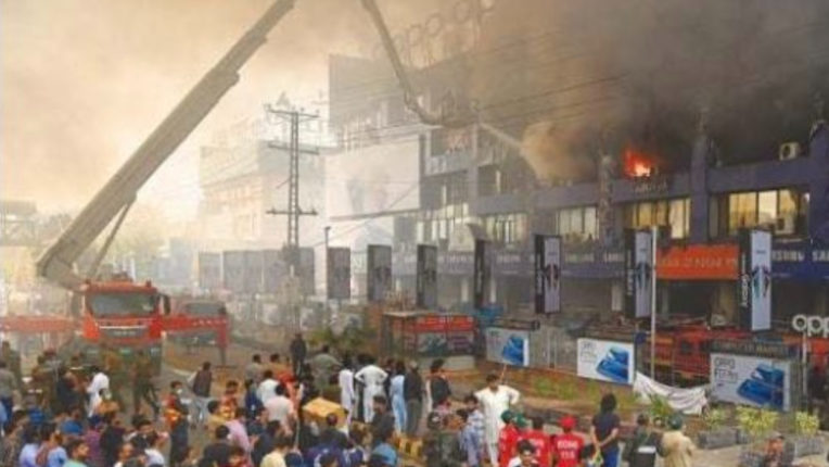Lahore's biggest electronic market catches fire, businessmen lose billions of rupees