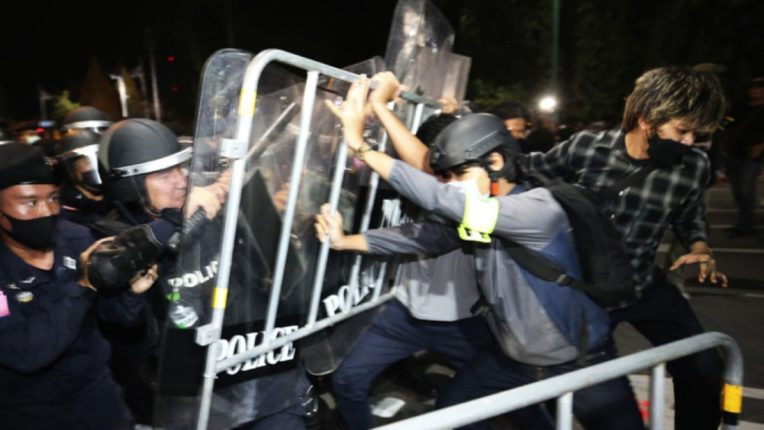 Thailand police dispersed pro-democracy protesters demanding the Prime Minister's resignation