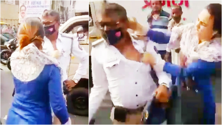 Shocking: woman beat policeman on the middle road in Mumbai