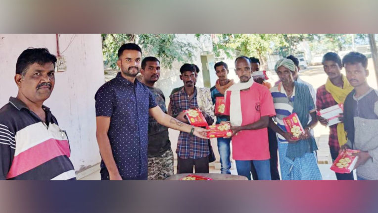 Sweet distribution to the martyrs' family