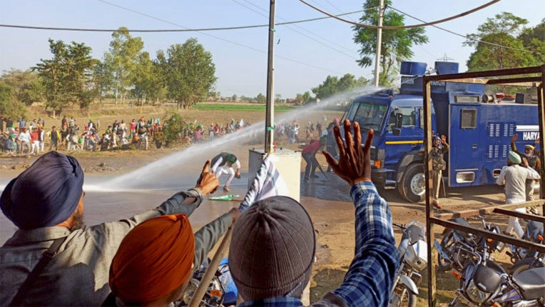 Water, farmers protest