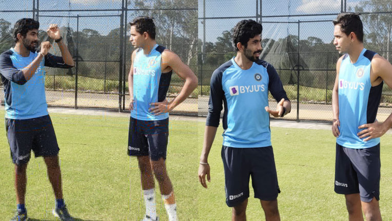 ind-vs-aus-bumrah-shares-bowling-tricks-with-youngster-kartik-tyagi
