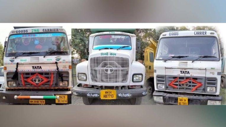 रेत की अवैध यातायात करनेवाले 3 ट्रक पकडे