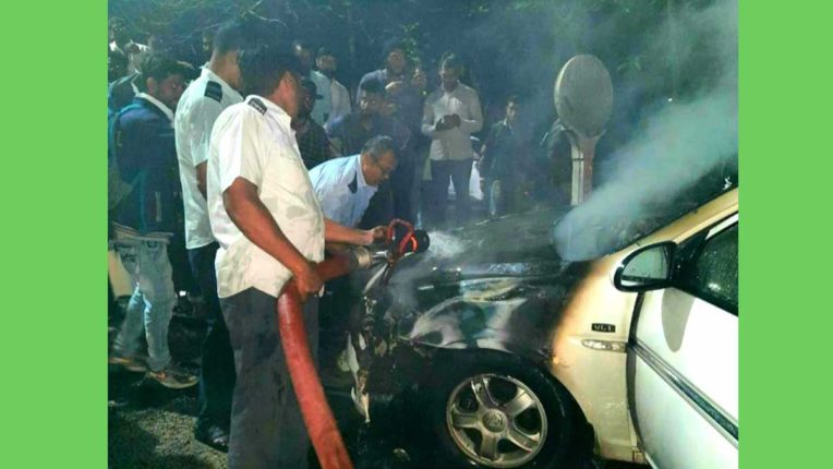 Car fire, driver's life saved