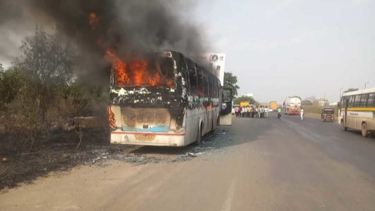 Luxury bus fires due to short circuit