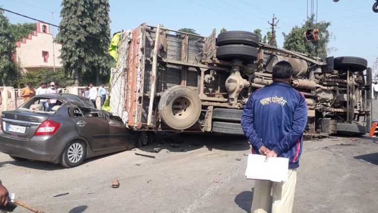 Truck overturns on car, 2 people killed, 2 people injured