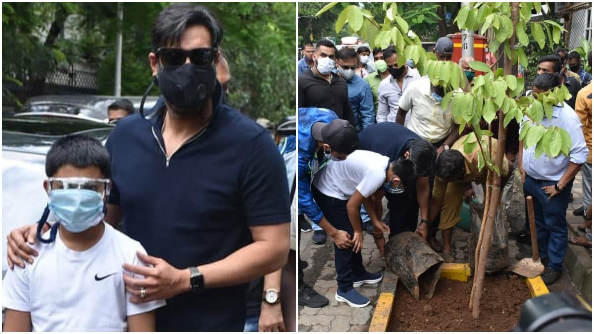 Ajay Devgan planted trees in Mumbai with son Yug Devgan, see stunning pictures here : अजय देवगन ने बेटे युग के साथ शहर में लगाया पेड़ बेटे युग देवगन के साथ पौधारोपण कार्यक्रम में हिस्सा लेते दिखाई दिए। मुंबई के जूही इलाके में इस खास कार्यक्रम का आयोजन किया गया था। इस दौरान अजय देवगन के साथ टीवी अभिनेता वत्सल सेठ भी नजर आए। मालूम हो कि कोरोना महामारी के दौरान अभिनेता अजय कई सामाजिक कामों से जुड़ते दिखाई दिए। अजय के साथ बेटे युग के साथ मिलकर बीएमसी अधिकारियों के साथ कई पेड़ लगाए। इससे पहले हेमा मालिनी, ईशा देओल, अभिषेक बच्चन और अनिल कपूर जैसे कलाकार इसमें बढ़ चढ़कर हिस्सा लेते दिखाई दिए थे। खैर, देखें अजय देवगन और उनके बेटे युग की ये शानदार तस्वीरें- (फोटो साभार- @ instagram)
