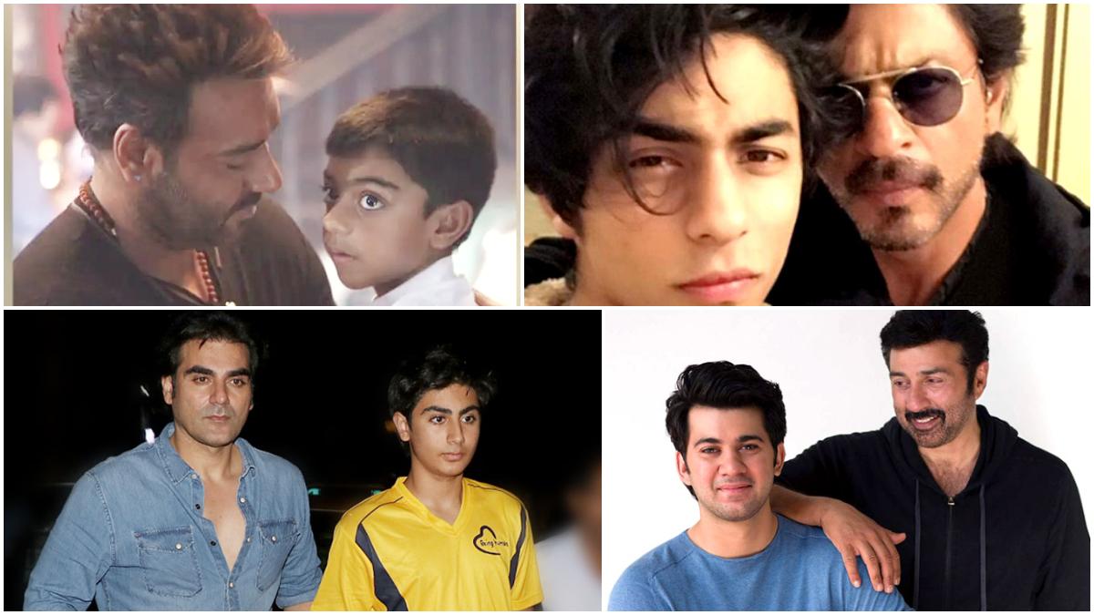 From Ajay Devgn-era to Saif Ali Khan-Ibrahim, these star kids are the exact carbon copy of their father: पूरी दुनिया ने 'फादर्स डे' (Father's Day) को सेलिब्रेट किया जा रहा है। हर कोई सोशल मीडिया पर पोस्ट जारी कर अपने पिता को इस खास दिन की बधाई दे रहा हैं। बॉलीवुड सेलेब्स भी आज सुबह से सोशल मीडिया पर एक्टिव हो कर अपने पिता के बारे में प्यार जाता रहे हैं। मालूम हो कि ऐसे में स्टार्स किड्स चर्चा का विषय बन गए है। इन स्टार्स किड्स ने अभी बॉलीवुड में काम भी शुरू नहीं किया इससे पहले वह अपने लुक के चलते सुर्खियों में रहते है। इस लिस्ट में अजय देवगन का बेटा युग, अभिनेता सैफ अली खान का बेटे इब्राहिम, बॉलीवुड किंग शाहरुख खान का बेटा आर्यन, अरबाज खान का बेटा अरहान जैसे स्टार किड्स शामिल है। यह सभी स्टार किड्स अपने सुपरस्टार पिता कि हूबहू कार्बन कॉपी है। आज हम 'फादर्स डे' के खास मौके पर आपके लिए ऐसी ही कुछ तस्वीरें लेकर आए हैं। देखें- (फोटो साभार- @ google)