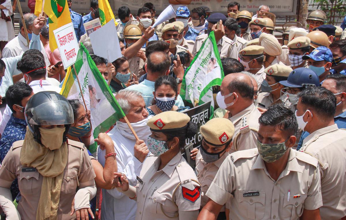 Farmers protest in Gurugram
