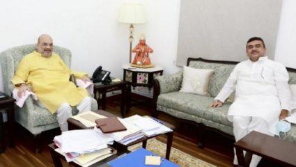शुभेन्दु अधिकारी ने गृहमंत्री  से की मुलाकात (Photo Credits-ANI Twitter)