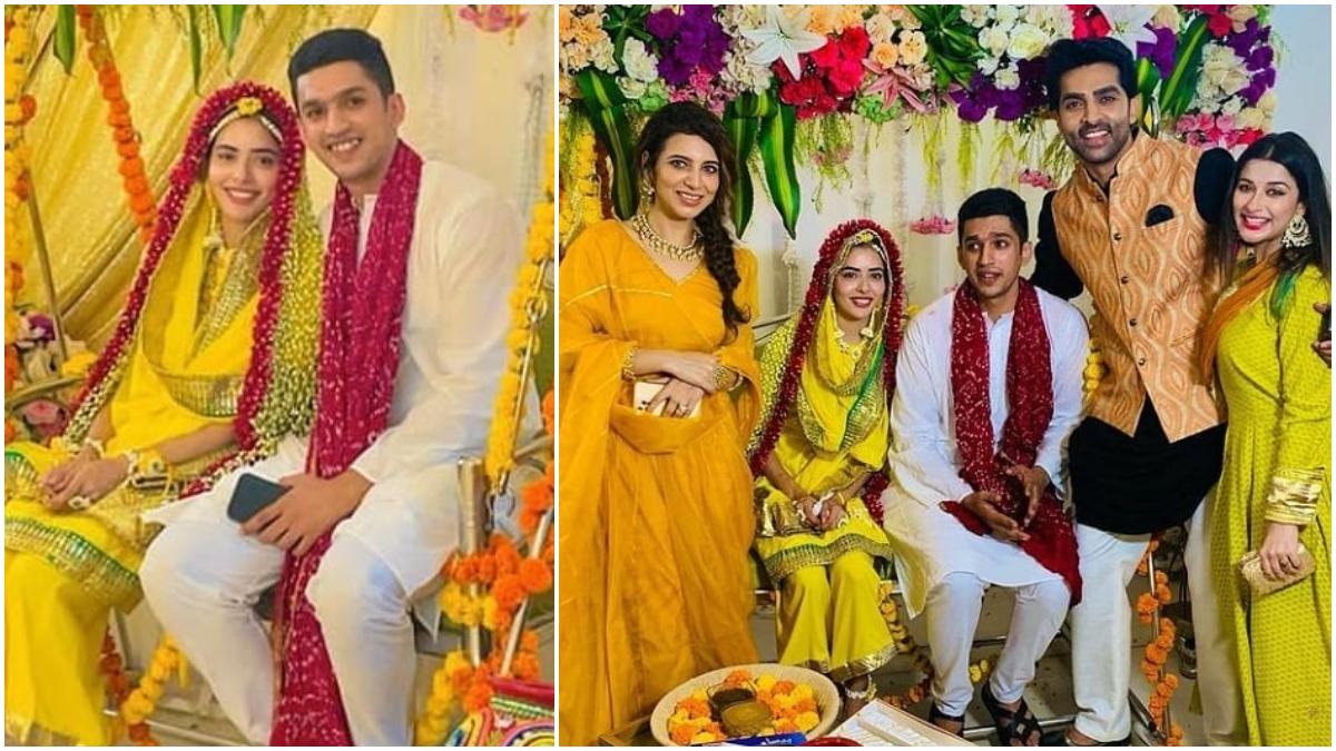 Divya Drishti Actress Sana Sayyad's Haldi Ceremony Pics VIRAL: पॉपुलर टीवी शो 'दिव्य दृष्टि' की फेम अभिनेत्री सना सैयद (Sana Sayyad) बहुत जल्द अपने बॉयफ्रेंड बिजनेसमैन इमाद शम्सी से शादी करने वाली हैं। 25 जून को यह दोनों शादी के बंधन में बधने वाली हैं। ऐसे में अदाकारा की हल्दी की रस्म हुई। सना सैयद ने हल्दी सेरेमनी की कुछ तस्वीरें अपने सोशल मीडिया अकाउंट पर भी पोस्ट की हैं। जिसमें वो अपने बॉयफ्रेंड के साथ बैठी काफी खुश नजर आ रही हैं। हल्दी सेरेमनी के दौरान अदाकारा पीले रंग का सूट पहनी दिखाई दी। खूबसूरत सूट के साथ सना सैयद ने फूलों से सजा हुआ दुपट्टा सिर पर ओढ़ रखा है। यह तस्वीरें सामने आने के बाद फैन्स भी उन्हें खूब बधाई दे रहे हैं। सना सैयद की हल्दी सेरेमनी में को-स्टार आद्विक महाजन भी शामिल होते नजर आए। देखें तस्वीरें- (फोटो साभार- @ Sana Sayyad)