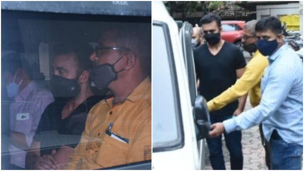 After getting police custody till July 23, Raj Kundra medical test again today:  बॉलीवुड एक्ट्रेस शिल्पा शेट्टी (Shilpa Shetty) के पति और नामी बिजनेसमैन राज कुंद्रा (Raj Kundra) की गिरफ्तारी के बाद उन्हें कोर्ट ने 23 जुलाई तक पुलिस कस्टडी में भेजा है। उन पर अश्लील फिल्में बनाने जैसा गंभीर आरोप लगा है। इसी बीच एक बाद फिर राज कुंद्रा की मेडिकल टेस्ट कराई गई है। राज को बुधवार की सुबह पुलिस के साथ अस्पताल के बाहर देखा गया। इस दौरान वह मेडिकल टेस्ट के बाद अस्पताल से बाहर निकलते स्पॉट किए गए। इस पूरे मामले में राज के अलावा 11 और लोगों को गिरफ्तार किया गया है। गुरुवार को राज कुंद्रा की फिर से कोर्ट में पेशी होनी है। देखें इन वायरल तस्वीरों को- (फोटो साभार- @instagram)