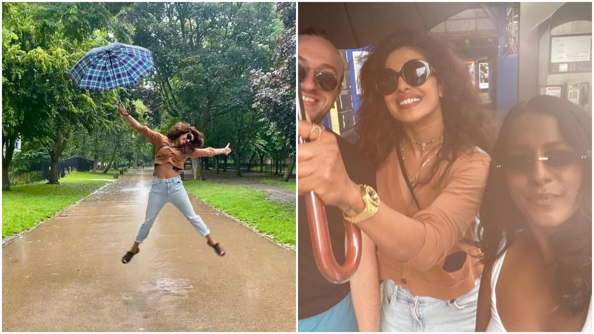 Priyanka Chopra jumped in the rain, desi girl lot of fun with friends in London: बॉलीवुड की खूबसूरत अदाकारा प्रियंका चोपड़ा (Priyanka Chopra) इन दिनों लंदन में झमाझम बारिश का मजा लेती दिखाई दी। मालूम हो कि अभिनेत्री सोशल मीडिया पर काफी एक्टिव रहती हैं और अपनी तस्वीरें और वीडियो साझा करती रहती हैं। एक बार फिर अभिनेत्री ने कुछ तस्वीरें अपने सोशल मीडिया अकाउंट पर पोस्ट कर तहलका मचा दिया हैं। इन तस्वीरों में प्रियंका दोस्तों के साथ खूब मस्ती करती नजर आई। अगर इन तस्वीरों को आप गौर से देखेंगे तो आपको पता चलेगा कि बिना निक के ही प्रियंका एन्जॉय कर रही हैं। इन तस्वीरों में उनके पति कई नहीं नहीं आ रहे हैं। प्रियंका की इन तस्वीरों को देखकर स्पष्ट तौर पर अंदाजा लगाया जा सकता है कि वह करीबी दोस्तों के साथ क्वालिटी टाइम स्पेंड कर रही हैं। (फोटो साभार- @ Priyanka Chopra)